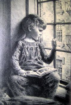 James Ormsbee Chapin Figurative Print - Boy Book Looking Out Window Lithograph Circa 1940 Reading Art, Kids Reading, Books For Boys, My Books, Illustrations, Illustration Art, People Reading, Lectures, Art For Kids