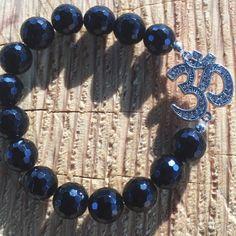 Onyx and OM Symbol Bracelet/ Black/ Onyx/ by angelovajewelry