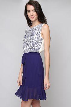 Embroidered Royal Danika Dress