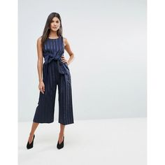 64bc14eb4a3 Closet Stripe Front Bow Culotte Jumpsuit (110 NZD) ❤ liked on Polyvore  featuring jumpsuits