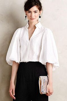 ANTHROPOLOGIE by Byron Lars Beauty Mark Amalia Balloon Sleeve Blouse Size 2 #Anthropologie #ButtonDownShirt