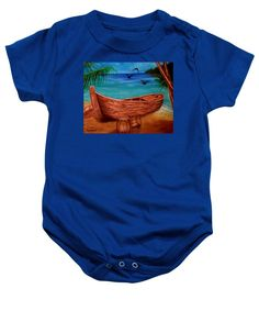 Purchase a baby onesie featuring the image of Pirates Story by Faye Anastasopoulou.  Available in sizes S - XL.  Each onesie is printed on-demand, ships within 1 - 2 business days, and comes with a 30-day money-back guarantee,   apparel, wear, clothing, summer, designed, artistic, unique, dark blue, nautical, boat, boys