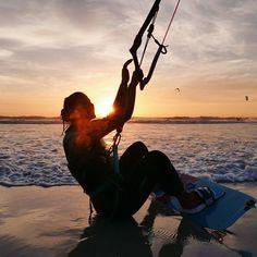 Shine bright. Shine like you mean it!    #kitesurfing #sunset #kitegirl