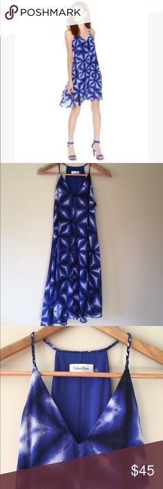 """Calvin Klein tie dye trapeze dress Gorgeous flowy dress by Calvin Klein. Vibrant and feminine, 100% polyester.    37"""" long  17"""" armpit to armpit   Ships from Hawaii 🌺 No trades 😇 Reasonable offers welcome 👍🏻 Bundle & save 💰 Calvin Klein Dresses"""