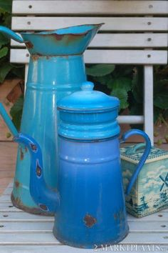 Pretty blue vintage enamelware- nice to look at but old pieces may contain lead or cadmium so caution when using them for food. Chips in the surface can cause these heavy metals to leach out.