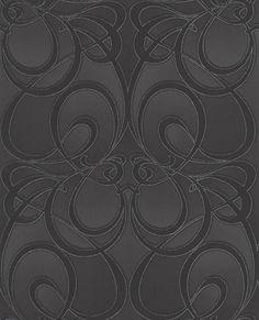 Wallpaper - black damask wall coverings by graham brown art deco wallpaper Hallway Wallpaper, Gothic Wallpaper, Art Deco Wallpaper, Damask Wallpaper, Glitter Wallpaper, Wallpaper Online, Designer Wallpaper, Wallpaper Ideas, Feature Wallpaper