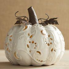 Large Ceramic Ivory Pumpkin Tealight Candle Holder