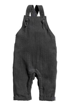Cotton dungarees - Dark grey - | H&M GB 1