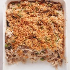 Creamy Chicken and Rice Casserole ...   This nostalgic dish evokes the Old School casseroles your grandmother used to make. Transforms rotisserie chicken and precooked rice (or leftover rice) with this quick and delicious weeknight meal.