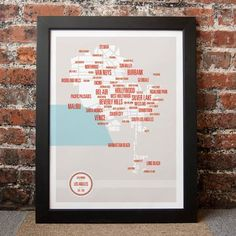 Los Angeles Neighborhoods Map, $45, now featured on Fab.