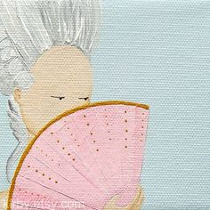 """The Boudoir Series - Fan"" Marie Antoinette French Rococo Themed Artwork by kirby  This is part of a collection of small paintings inspired by the chic French boudoirs of the 18th century and the exquisite pastel colouring so beloved by the court of Marie Antoinette."