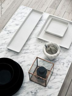 marble table from IKEA ...