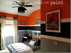 Teen Boy Bedroom in Orange, Gray, Black - Teen Room Orange Gray Black Love paint color and stripes. Orange Boys Rooms, Kids Bedroom, Bedroom Decor, Boy Bedrooms, Bedroom Ideas, Preteen Boys Bedroom, Black Bedrooms, Country Bedrooms, Bedroom Makeovers