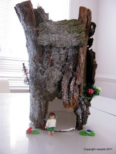 Recycle an oatmeal container, collect tree bark, make a Fairy House!