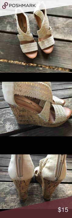 Montego Bay Club crocheted cork wedges Cream colored crocheted straps cross the foot atop a sweet cork wedge in these cute shoes from Montego Bay Club. Hard to find size 5! ❤️  These have been gently worn and please be aware of the black marks on the heel area of the right foot. Most likely from driving. Ugh. The things floorboards have done to my shoes. Montego Bay Club Shoes Wedges