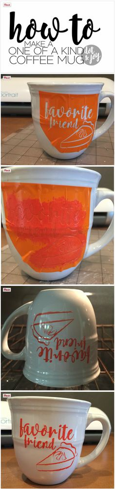 How to make a one of a kind coffee mug! Using vinyl and hobby paint you can create a dishwasher safe design.