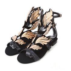 Chic Black with Metallic Gold Gladiator Fashion Sandals #sandals #bohemian