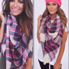 New Pink Plaid Blanket Scarf. Price Firm.
