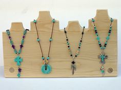 """Multiple Necklace Display, 18"""" x 10.75"""" high, 4 necklace displays in one, Muli Necklace Display, Unique necklace hanging feature Más"""