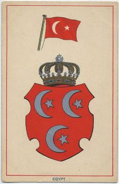 https://flic.kr/p/GSgxE | The Khedivial dynastic arms surmounted by the Khedivial crown.  Above is the national flag of Egypt (circa 1910). | Note that the dynastic coat of arms was different from the state coat of arms. Notice also that the national flag of Egypt was similar to that of Turkey, except for the five pointed star, which was also adopted by Turkey in the 1840s