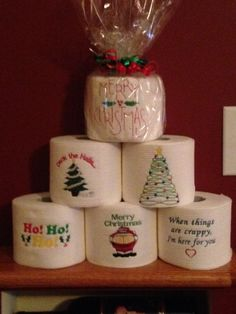 Embroidered toilet paper Paper Embroidery, Embroidery Applique, Machine Embroidery Designs, Christmas Toilet Paper, Toilet Paper Crafts, Gag Gifts Christmas, Christmas Ornaments, Christmas Trees, Embroidered Toilet Paper