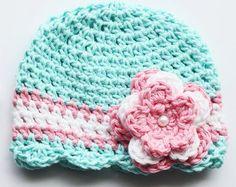 NICU, Preemie, Micropreemie, Newborn, Baby girl Hat, Hospital Hat, Soft Cotton Hat, Pink Flower Hat
