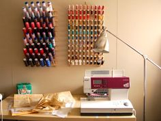 sewing room setup - love the threads!