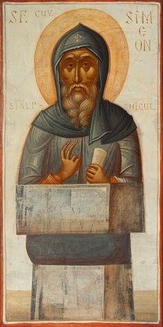 St Simeon the Stylite / Icoane Toma Chituc Byzantine Art, Byzantine Icons, Religious Images, Religious Art, St Pio Of Pietrelcina, Best Icons, Art Icon, Catholic Saints, High Art
