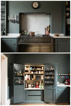 Stunning dark grey kitchen with wrap around colour. Love the marble detail