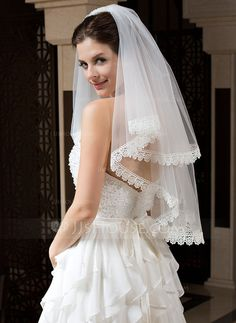 Wedding Veils - $23.99 - Two-tier Elbow Bridal Veils With Lace Applique Edge (006035737) http://jjshouse.com/Two-Tier-Elbow-Bridal-Veils-With-Lace-Applique-Edge-006035737-g35737
