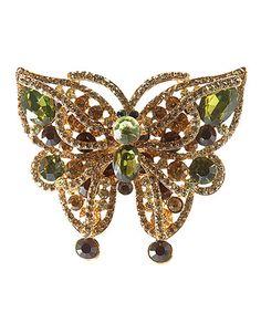 Another great find on #zulily! Green Czech Crystal Butterfly Brooch #zulilyfinds