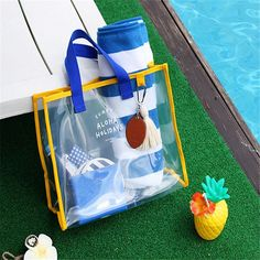 Honana HN-TB55 Transparent PVC Handbag Waterproof Travel Swimming Storage Bag Beach Clothes Bags