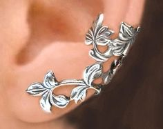 C-141, Spring Leaf ear cuffs, Sterling Silver earrings, clip earcuff jewelry, Left, Right, Pair