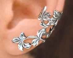 Iris Wave ear cuff Sterling Silver earrings Iris por RingRingRing