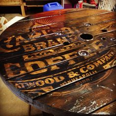 Graphic on Hand-made wire spool table