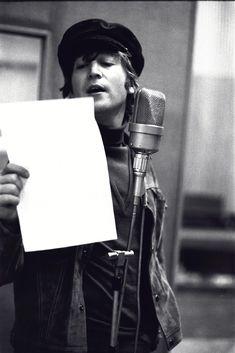 """John Lennon recording """"Girl,"""" in the wee hours of November 12, 1965, via"""