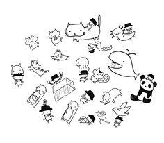 Handmade 20 Nojiko san Kawaii Flake Sticker Set. by niconecozakkaya on Etsy