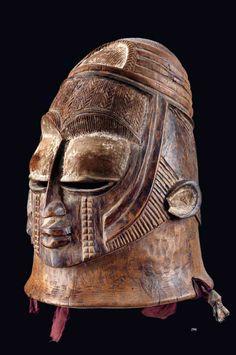 Africa | Ojuegu helmet mask from the Igala people of Nigeria | Wood