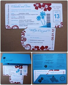 Dark Turquoise & Red Hawaiian Airline Ticket Wedding Invitations