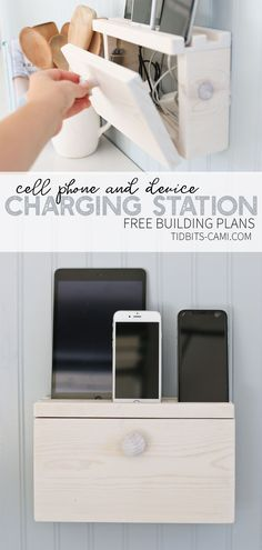 Give your cell phones and devices the perfect place to recharge in style! Build this DIY device charging station (or docking station) to hide cords, free up precious countertop space, and designate a place for the whole family to store their devices - # Diy Router, Do It Yourself Furniture, Diy Furniture, Simple Furniture, Repurposed Furniture, Furniture Projects, Rustic Furniture, Outdoor Furniture, Home Organization