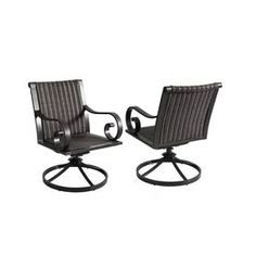 allen roth set of 2 pardini oilrubbed bronze woven seat aluminum swivel rocker patio dining chair - Swivel Patio Chairs