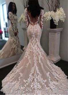 New Illusion Long Sleeves Lace Mermaid Wedding Dresses Tulle Applique Court Wedd. - - New Illusion Long Sleeves Lace Mermaid Wedding Dresses Tulle Applique Court Wedding Bridal Gowns With Buttons Source by Lace Mermaid Wedding Dress, Long Wedding Dresses, Long Sleeve Wedding, Tulle Wedding, Bridal Dresses, Elegant Wedding, Dress Lace, Prom Dresses, Bridesmaid Dresses