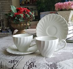 Tea for 2 Johnson Brothers Regency All White Swirl Ironstone Tea Cup and Saucer Classy Tea China Set Replacement China England Tea Set Christmas China, Christmas Tree, Replacement Dishes, Fine China Dinnerware, Wedding China, White Coffee Cups, Johnson Brothers, China Sets, Swirl Pattern