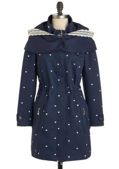 Shiver Me Timeless Coat - Blue, White, Print, Pockets, Casual, Hoodie, Long Sleeve, 2, Spring, Fall, Cotton, Long, Winter