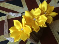Canary Yellow Ribbon Flower Headband/Clip by CuriousPetals on Etsy