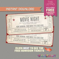 Charming Movie Night Invitation With FREE Admission Tickets! Movie Night Party    Movie Night Birthday   Movie Ticket   Editable PDF File