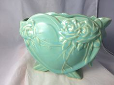 Vintage McCoy Pottery Heart or Valentine Vase with Roses 1940's