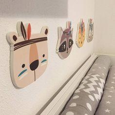 Nursery Childrens Room Wall Sticker Boho Tribal Indian Cartoon Fox Cat Wall Prints For Kids Baby Room Decoration Idea - seramic Wall Stickers Cartoon, Nursery Wall Stickers, Nursery Wall Decor, Baby Room Decor, Wall Decor Stickers, Nursery Prints, Kids Prints, Wall Prints, Tribal Animals