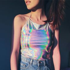 Holographic Halter Top