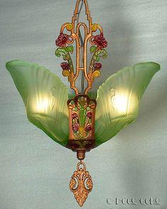 ANTIQUE-ORIGINAL-ART-DECO-GREEN-GLASS-3-SLIP-SHADE-CHANDELIER-LIGHT-LAMP-FIXTURE